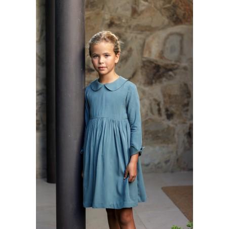 Vestido niña viscosa azul verdoso