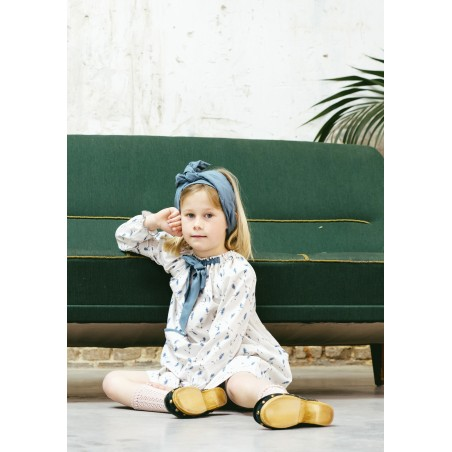 Vestido niña retro lirios azul