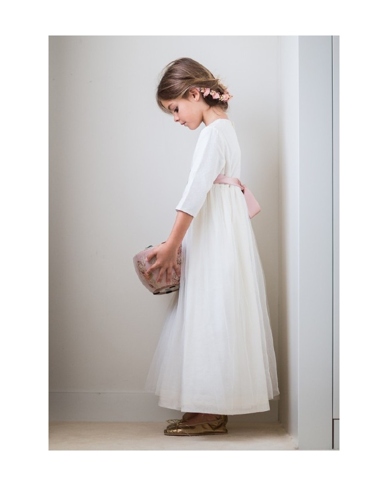 "43. Vestido de comunión ""plumetti beige + tul """
