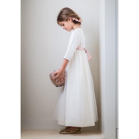 "Vestido de comunión ""plumetti beige + tul """