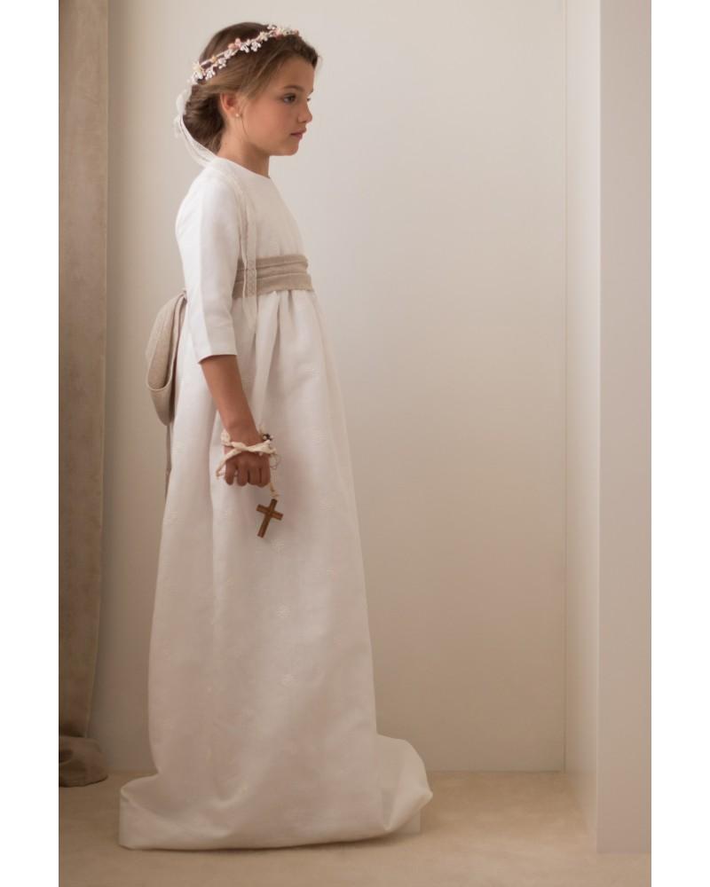 22 Vestido De Comunion Lino Bordado