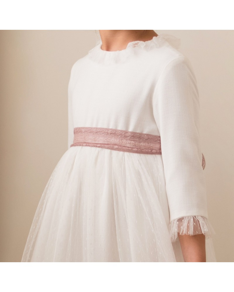 LOTE 5 TALLAS Vestido escote espalda rosa palo