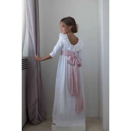 29. Vestido de comunion plumetti blanco escote espalda