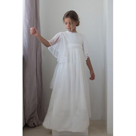 13. Vestido de comunion Beige Manga campana de tul plumetti (con lazada de tul plumetti)