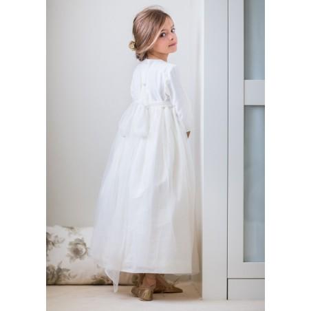 """42. Vestido de comunión """"plumetti blanco + tul """""""