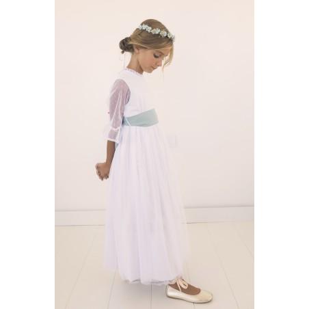 34. Vestido de comunion blanco manga tul