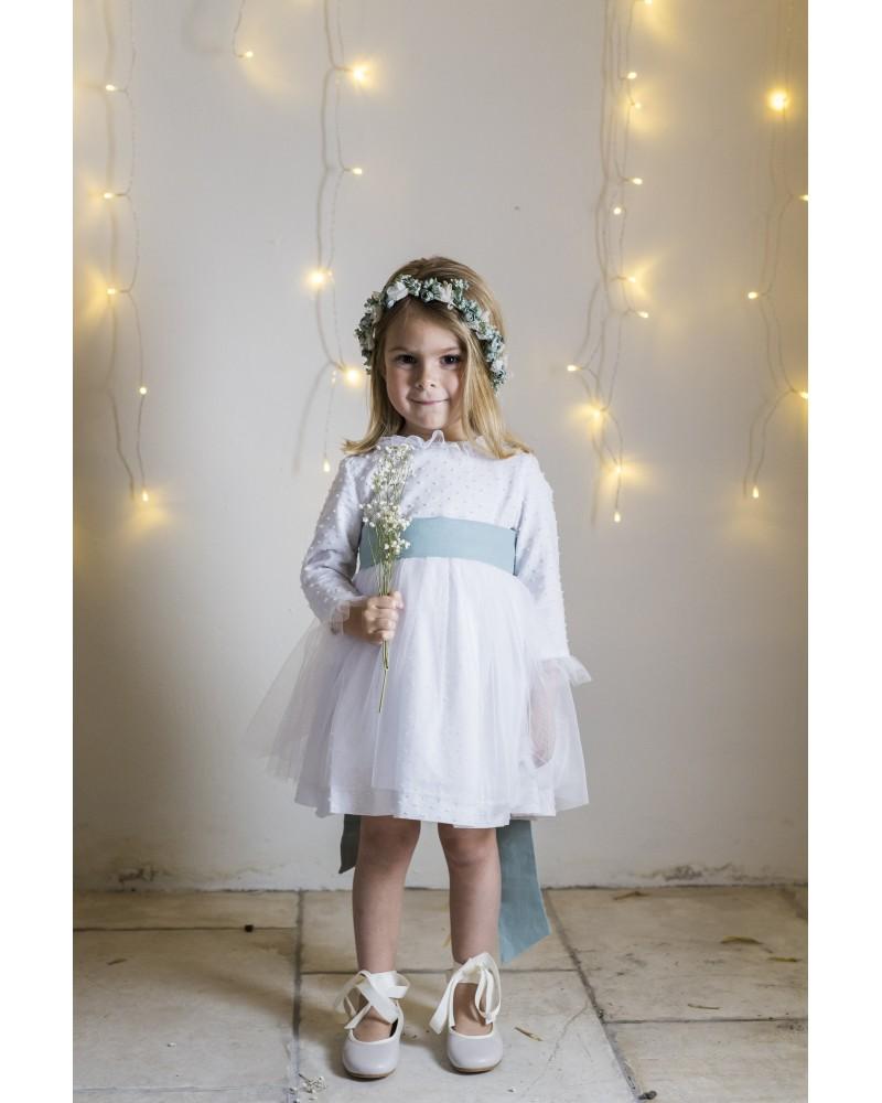 Vestido corto plumetti blanco con tul (sin lazada)