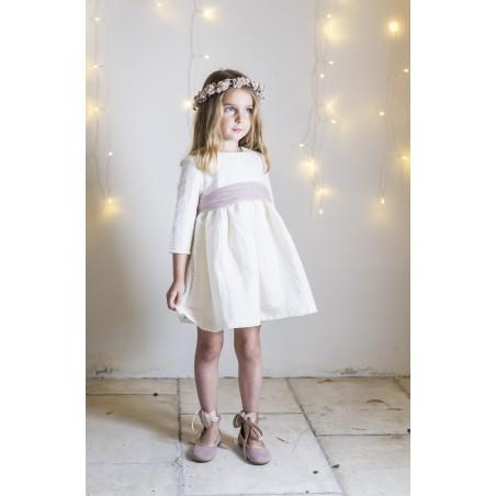 Vestido Canutillo beige corto                (sin lazada)