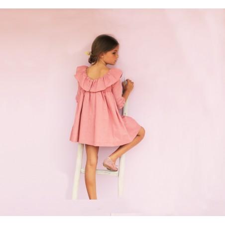Vestido escote espalda lino caldero