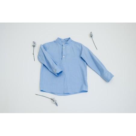 CAM. 11.Camisa niño cuello Mao azul oxford