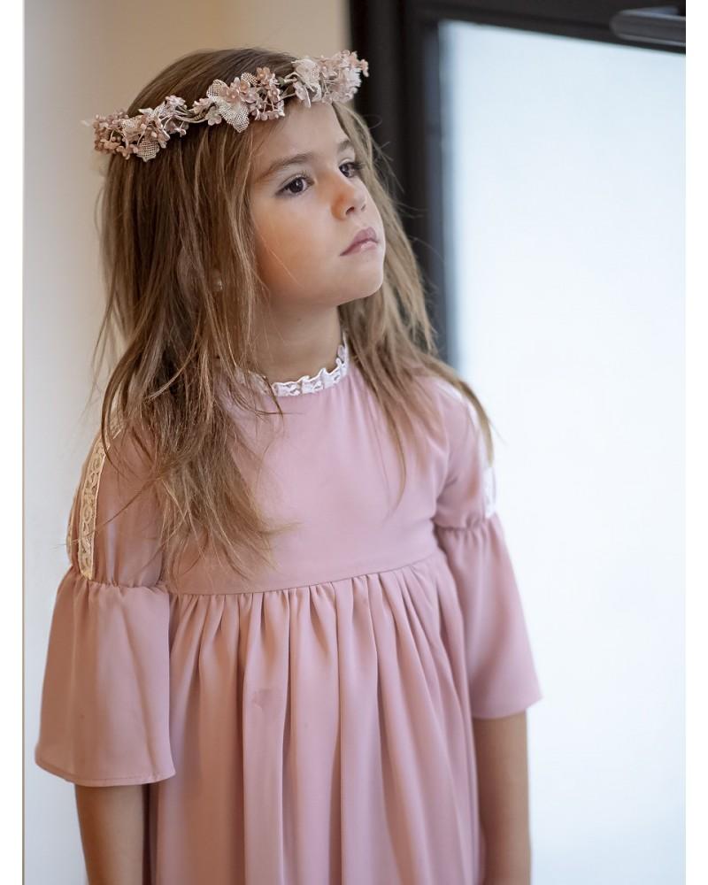 Vestido crep rosa manga campana