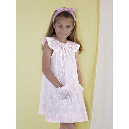 SS19. 27.Vestido niña rosa plumetti bordado blanco