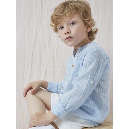 CAM. 5.Camisa niño bambula rayas azules