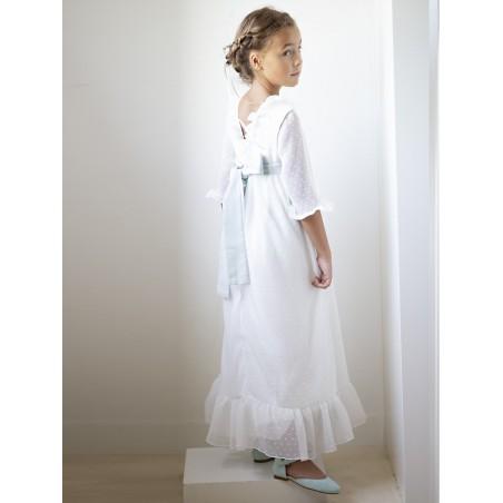 Vestido plumetti blanco alas