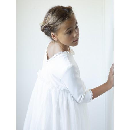Vestido de comunion blanco manga tul
