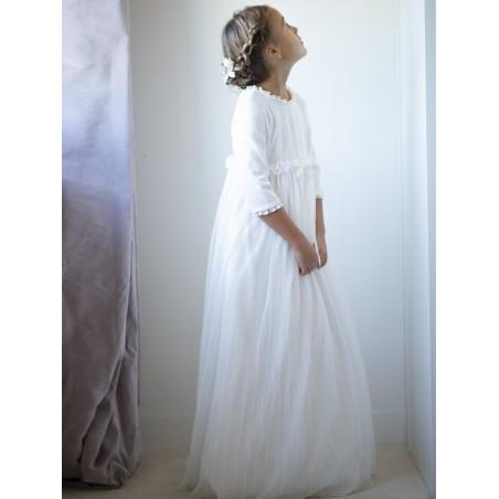 """Vestido de comunión """"Adamascado beige"""""""