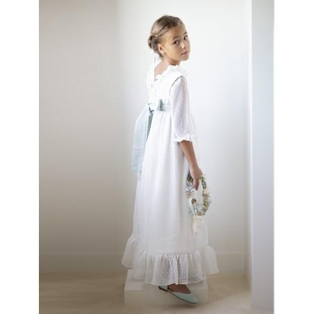 Vestido de comunión manga tul bordado