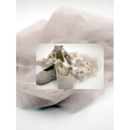 Tocado flor verde tul