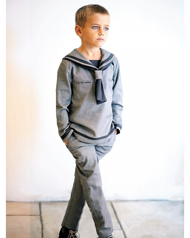 M.3.Conjunto marinero gris espiga pantalón largo