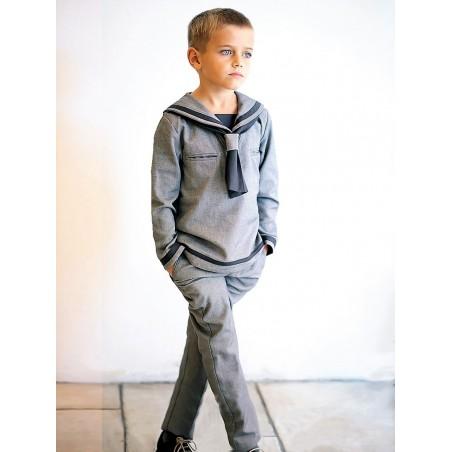 Conjunto marinero gris espiga pantalón largo