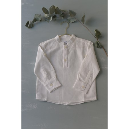 CAM. 3.Camisa lino beige cuello mao