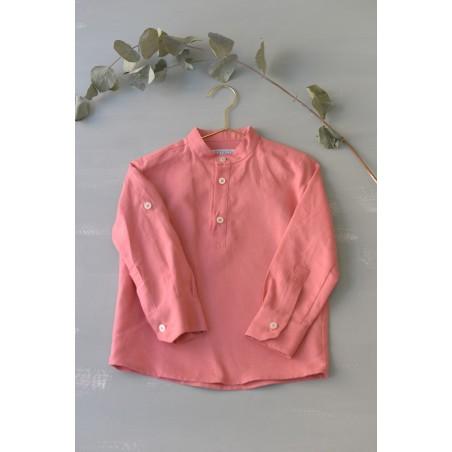 CAM. 9.Camisa niño cuello Mao lino caldero