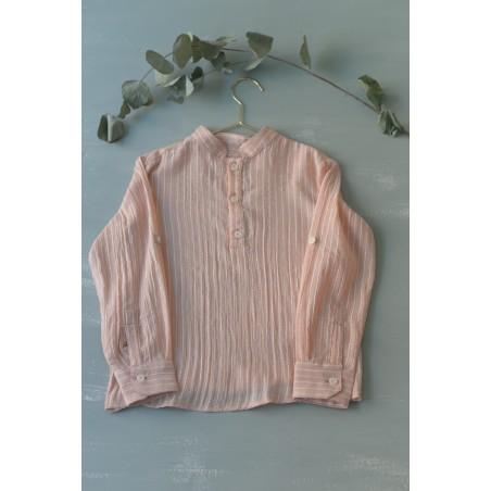 CAM. 6.Camisa Niño Cuello Mao bambula rosa rayas