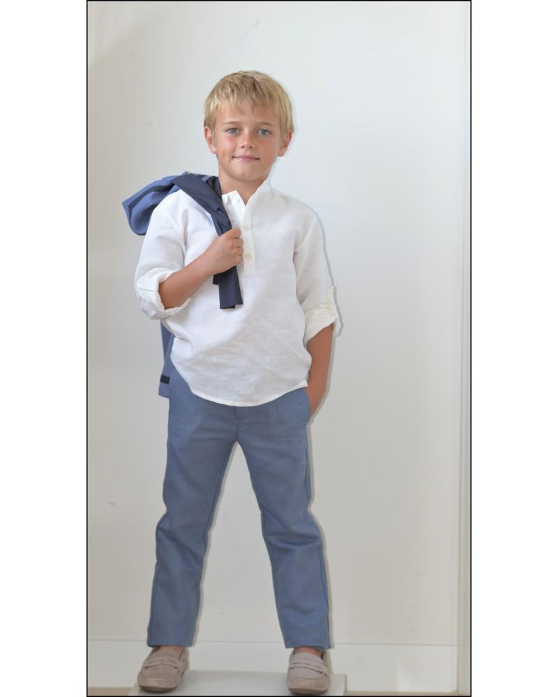 P.2.Pantalón lino azul