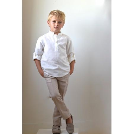 CAM. 4.Camisa lino blanca cuello mao