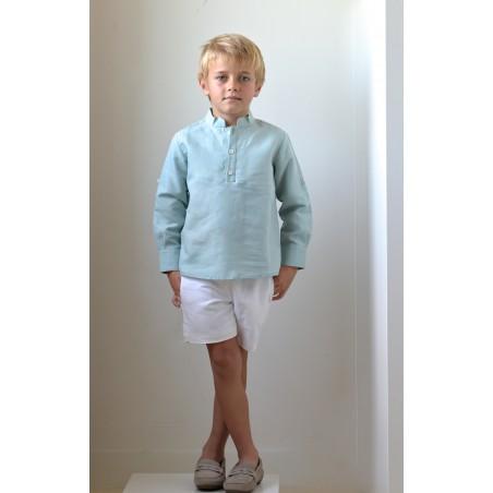 CAM. 8.Camisa Niño Cuello Mao Lino agua marina