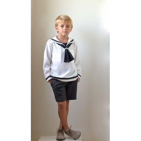 M.6. Camisola marinero Crep blanco