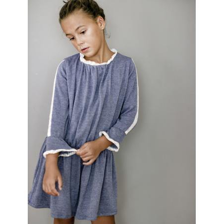 Vestido niña punto azul puntillas