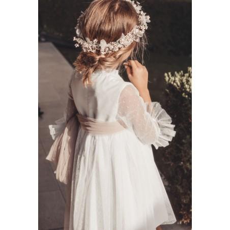 A19. 14. Vestido corto blanco manga tul (sin lazada)