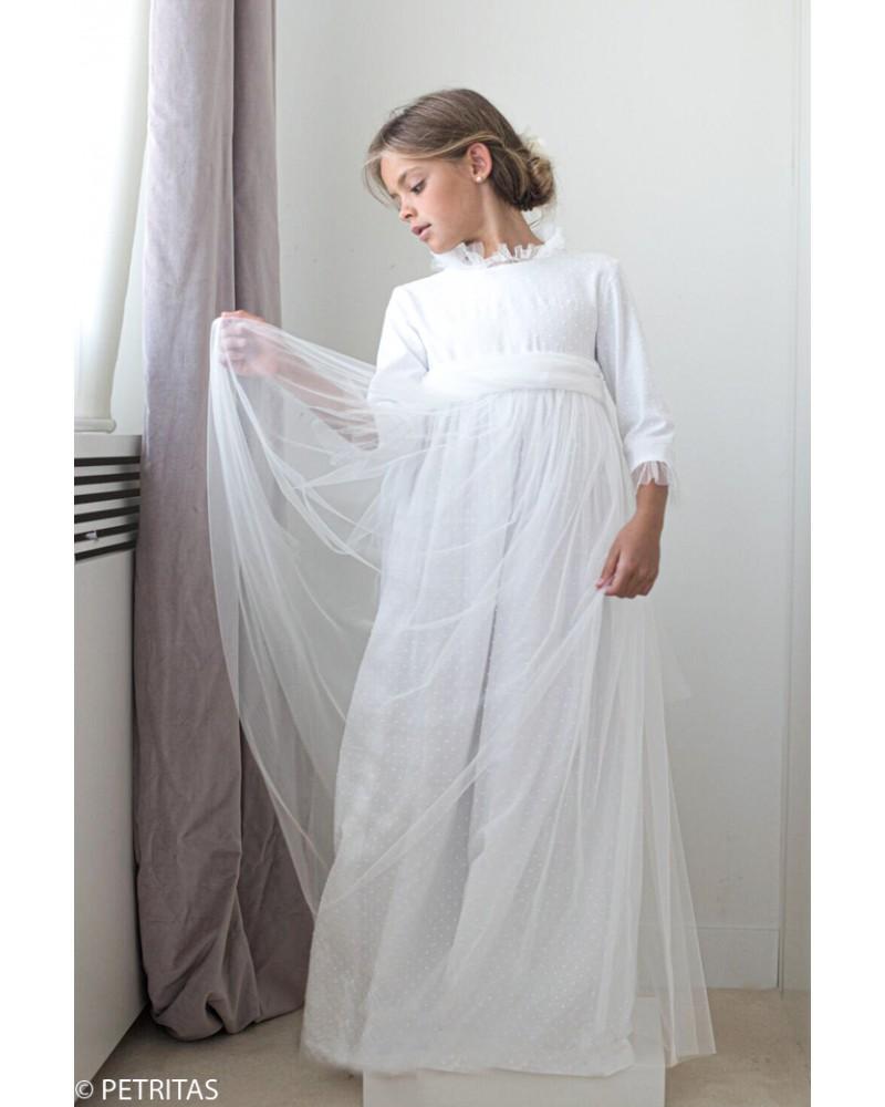 """32. Vestido de comunión """"plumetti blanco + tul en cuellos y puños """""""