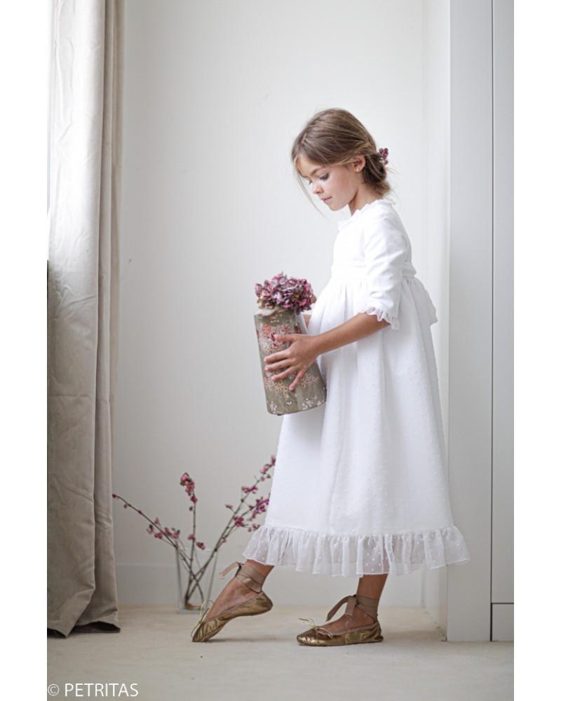 30.Vestido de comunión blanco pique +organza de plumetti