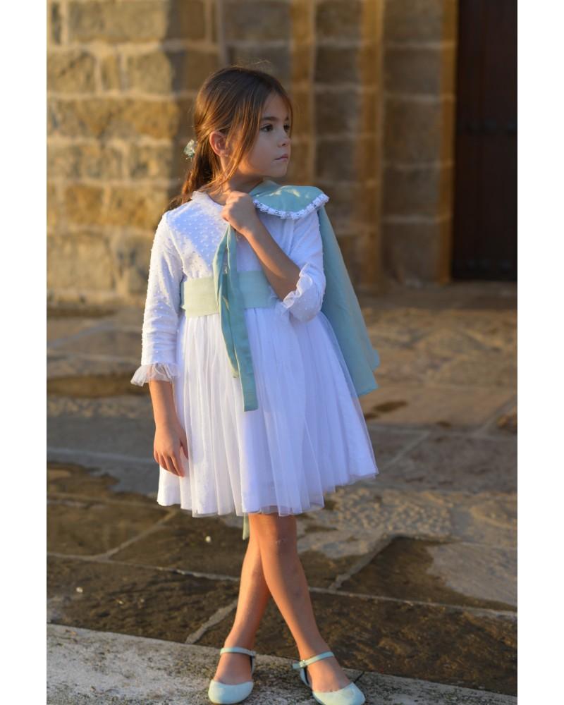 A19. 7. Vestido corto plumetti blanco con tul (sin lazada)