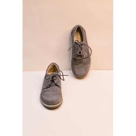 Z.2.Zapato comunión niño blucher ante gris