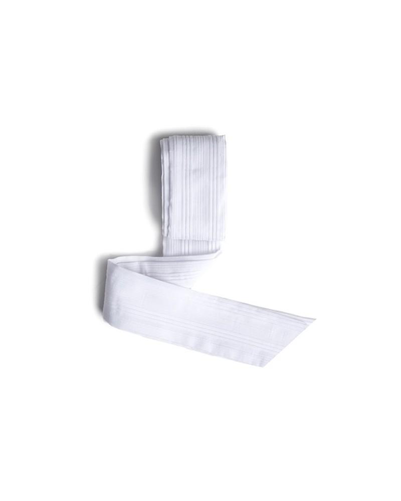 Vestido Combi Manga Corta Pique Blanco + Organza