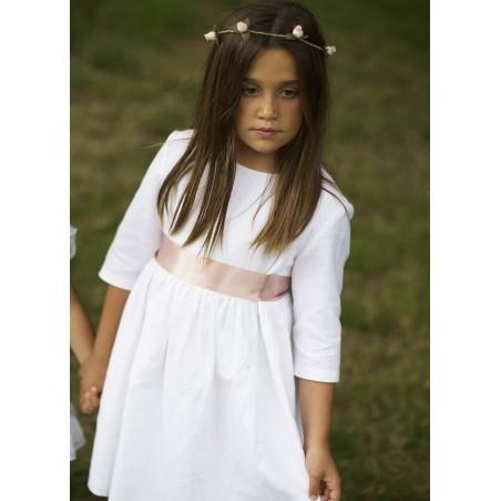 Vestido Lino Blanco Manga Francesa (sin lazada)